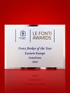รางวัล Forex Broker of the Year in Eastern Europe ประจำปี 2018 จาก Le Fonti Awards